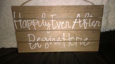 """""""Happily Ever After Begins Here"""" wooden sign from Something Sweet Vintage Boutique in Kansas City. www.Facebook.com/somethingsweetkc"""
