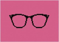 Glasses cross stitch pattern