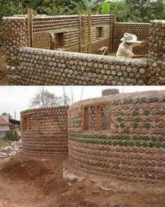 The buildings made from waste plastic bottles are environmentally friendly and cost is very cheap Plastic Bottle House, Plastic Bottles, Earthship, Building Systems, Building Materials, Earth Bag Homes, Tire Furniture, Recycled House, Patio Enclosures