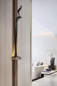 派尚设计 \ 卓越天元样板房 :当代艺境写就青岛城市封面_美国室内设计中文网 Altar Design, Niche Design, Wall Design, House Design, Foyer Design, Corridor Design, Lobby Interior, Lobby Design, Interior Decorating