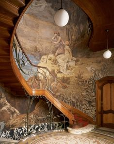 Art Nouveau Stairs at Hotel Hannon, Brussels, Belgium - 1903 - Architect: Jules Brunfaut