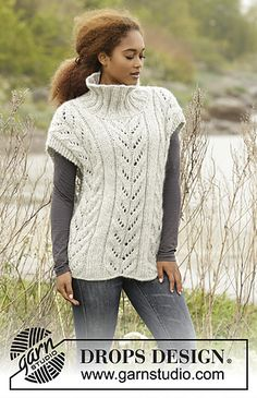 Come Winter - Knitted DROPS poncho with cables and high collar in 1 thread Cloud or 2 threads Air. Size S-XXXL. - Free pattern by DROPS Design Knitting Patterns Free, Free Knitting, Free Pattern, Crochet Patterns, Poncho Shawl, Drops Design, Knit Vest, Knitted Poncho, Chunky Yarn