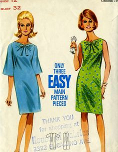 Vintage 60s Butterick 4326 Misses Shift Dress with by RomasMaison