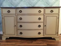 Fabulous Knetchel sideboard with Hepplewhite pulls. Painted in @generalfinishes millstone milk paint, distressed and dark waxed