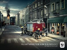 WWF France present their concern about apathetic responses to ecological crisis in this print advertising campaign featuring emergency crews. Firemen, ambulance officers and coastguard rescue teams are distracted from their calling by trivial pursuits. Credits The Emergency campaign was developed at Ogilvy France by creative director/copywriter Nick Hine, art directors Eve Roussou and Daniela Dedelschi, …