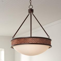 "Woven Leather Lamont 20 1/2"" Wide Bronze Pendant Light #pendants #pendantlights #pendantlighting #lighting #lightingdesign #lightingideas Brushed Nickel Pendant Lights, Bronze Pendant Light, Multi Light Pendant, Farmhouse Pendant Lighting, Printing On Burlap, Pendant Chandelier, Modern Industrial, Bronze Finish, Oil Rubbed Bronze"