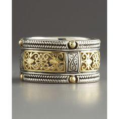 Silver & Gold Lace Band Ring - Konstantino