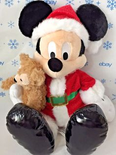 15 Inch Santa Mickey Mouse Plush with Duffy the Disney Bear Disney Parks w/ Tag #DisneyParks