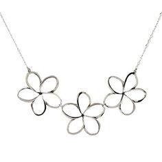 Pua Melia Necklace with 1 1/2 inch Plumeria Flowers - Romantic Jewelry