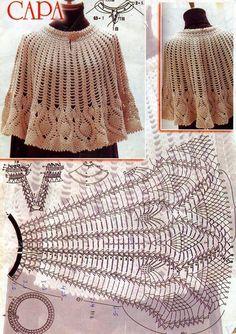 Home Decor Crochet Patterns Part 7 - Beautiful Crochet Patterns and Knitting Patterns Crochet Shawl Diagram, Crochet Poncho Patterns, Crochet Stitches, Knitting Patterns, Crochet Cape, Knit Crochet, Crochet Collar, Beautiful Crochet, Vintage Crochet