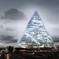 Architects Herzog & de Meuron have unveiled their design for a triangular building in the Porte de Versailles area of Paris, France.