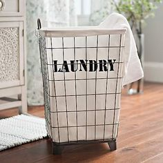White Lined Wire Laundry Basket | Kirklands