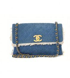 Chanel Blue Jean Jumbo Shoulder