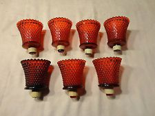 Lot 7 Vintage Ruby Red Hobnail Home Interiors Votive Cups Candle Holders  HOMCO $10