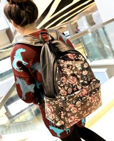 stacy bag new arrival women's leather backpack female cartoon printing travel backpacks student school bag ladies travel bags $14.00