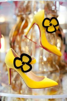 Christian Louboutin Yellow Pumps - his first red soled shoes #CL #Louboutins #Shoes