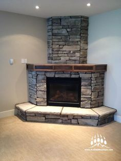 Creative Mines Craft Peak Ledge (Color: Grey Pearl) Creative Mines Craft Peak Ledge (Color: Grey Pearl) Image Size: 225 x 300 Source Corner Stone Fireplace, Stucco Fireplace, Brick Fireplace Makeover, Rock Fireplaces, Rustic Fireplaces, Home Fireplace, Fireplace Remodel, Living Room With Fireplace, Fireplace Design