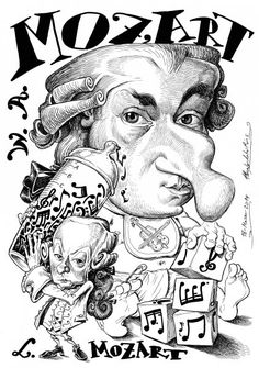 Leopold with giant infant Wolfgang and the most insane Mozart-y nose I've ever seen. Satire, Pop Art, Modern Portraits, School Signs, Music Humor, Classical Music, Funny Faces, Musical, Great Artists