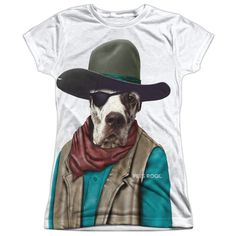 PETS ROCK/COWBOY-S/S JUNIOR POLY CREW-WHITE