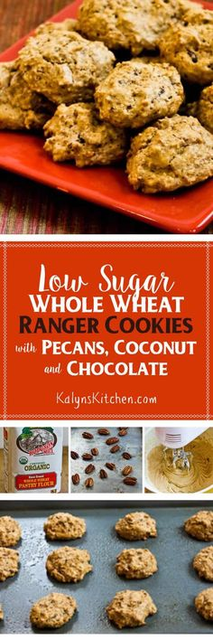 Low-Sugar and Whole Wheat Ranger Cookies with Pecans, Coconut, and Chocolate are delicious for a healthier cookie option!  [found on KalynsKitchen.com]