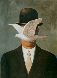 This picture is called The Man in the Bowler Hat. It was painted in 1964 in Belgium. This picture is made with oil on canvas. This picture again describes how Magritte often liked to paint objects covering a person's face.