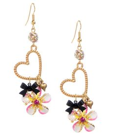 I wish I were going to the beach soon.  I'd buy these and sport them all day!  HEART FLOWER DROP EARRINGS Betsey Johnson
