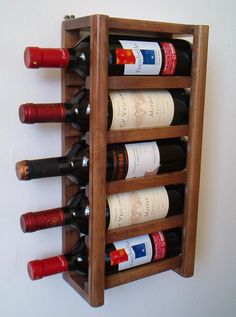 Compact Wall Wine Rack by ChipsOfFantasy on Etsy
