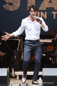 Darren Criss at #StarsInTheAlley Outdoor Concert Featuring Darren Criss at Shubert Alley on May 27, 2015 in New York City.
