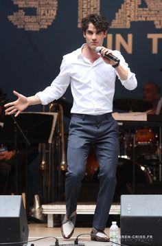 Darren Criss at #StarsInTheAlley Outdoor Concert Featuring Darren Criss at Shubert Alley on May 27, 2015 in New York City.
