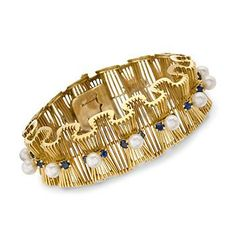 "C. 1970 Vintage 5-6mm Cultured Pearl and 4.00 ct. t.w. Sapphire Scroll Bracelet in 18kt Yellow Gold 7""    $5526"