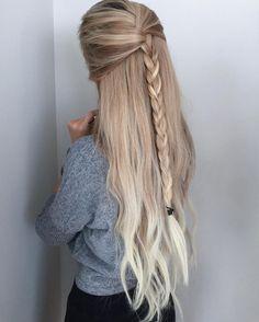 Прическа, косичка на распущенные волосы, блондинка, стиль, волосы