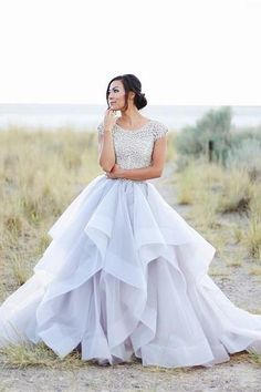 modest wedding dress with beaded cap sleeves and a full skirt (modest bridal gowns) Grad Dresses, Modest Wedding Dresses, Dance Dresses, Pretty Dresses, Beautiful Dresses, Beautiful Bride, Bridal Gowns, Wedding Gowns, Wedding Dress Trends