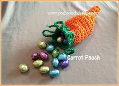Easter Carrot Pouch Free Crochet Pattern By Sara Sach of Posh Pooch Designs Easter Carrot Pouch is a fun little Crochet Pat. Crochet Pouch, Crochet Trim, Crochet Gifts, Double Crochet, Single Crochet, Free Crochet, Pouch Pattern, Free Pattern, Charity Gifts