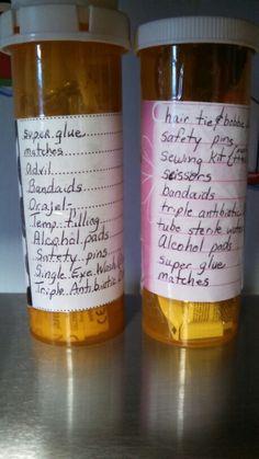 Emergency kit in a large pill bottle