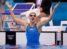 Ruta Meilutyte (15 years old) wins gold on 100m breaststroke.