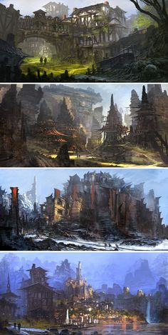 "fantasy-art-engine: "" Fantasy Concept Art by Feng Zhu "" Fantasy City, Fantasy Places, Fantasy World, High Fantasy, Landscape Concept, Fantasy Landscape, The Ancient Magus, Fantasy Concept Art, Art Et Illustration"