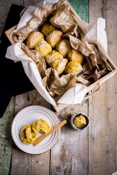 Wonderfully spiced pumpkin Scones served with maple butter | in happenstance.com