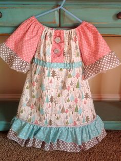Girl's Woodland Delight Christmas Peasant Dress by mellonmonkeys, $50.00