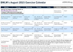 August Challenge Exercise Calendar
