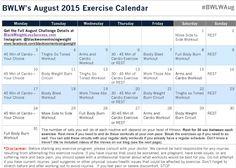August Challenge Exercise Calendar