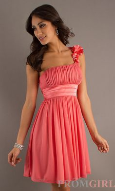 Short One Shoulder Dress, Coral Pink Semi Formal Dress- PromGirl