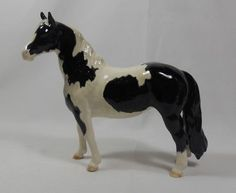 Beswick Horse Figurine Pinto Pony Piebald Black and White Mo. 1373 2nd Version  $140.00