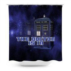 Iconic police box design on a galaxy background. Galaxy Background, Police Box, Customized Girl, Box Design, Fandom, Curtains, Shower, Rain Shower Heads, Blinds