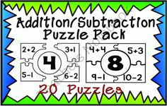 Addition/Subtraction Puzzle Pack from A Teacher in Paradise on TeachersNotebook.com (21 pages)  - Here is fun, opportunity for your students to practice addition and subtraction facts for numbers 1-20. This pack includes 10 puzzles to help your kindergarten, first or second graders to memorize their addition facts through 20.