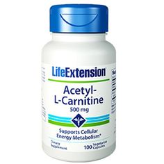 Acetyl L Carnitine 500mg Life Extension 100 VCaps. A major cause of aging is a reduction in the energy-producing components of the cell, resulting in reduced cellular metabolic activity, and the accumulation of cellular debris.1-7 L-carnitine helps maintain cellular energy metabolism by assisting in the transport of fatty (...) Always free shipping in the US! http://www.speedyhealthsupplements.co