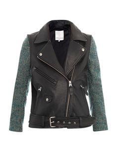 Moto tweed and leather jacket Matches Fashion