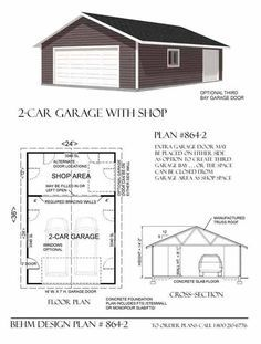 Two car garage with shop and attic truss roof plan 1200 4r for 2 bay garage plans