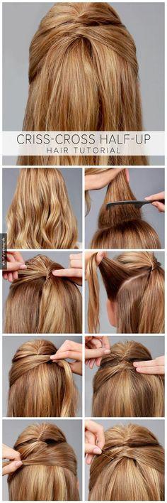 Criss-Cross Half-Up Hair