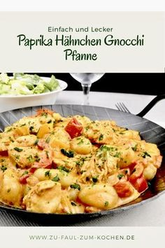 Paprika Chicken Gnocchi Pan - Too Lazy To Cook? - Fast finish with spicy chicken and gnocchi in a creamy sauce - Sauce Recipes, Pasta Recipes, Beef Recipes, Dinner Recipes, Cooking Recipes, Gnocchi Recipes, Healthy Chicken Recipes, Vegetarian Recipes, Chicken Gnocchi