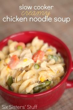 Slow Cooker Creamy Chicken Noodle Soup from SixSistersStuff.com.  Just a few ingredients to a delicious dinner! #sixsistersstuff